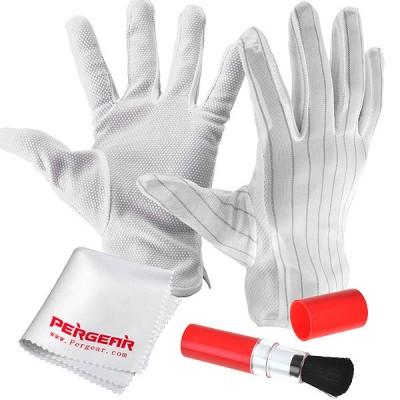 Набор для ухода за оптикой Pergear 3 в 1 перчатки безворсовые, кисточка, тканевая салфетка из микроволокна.