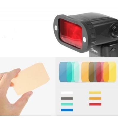 Набор резиновых магнитных насадок Selens  на внешнюю вспышку, сменных цветных фильтров и сотовой решётки